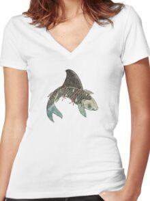 Koi Shark Fin Women's Fitted V-Neck T-Shirt
