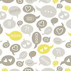 love message yellow gray brown beige by demonique