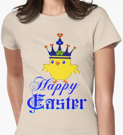 ㋡♥♫Happy Easter Blue Eyed Irish King Chicken Clothing & Stickers♪♥㋡ Womens Fitted T-Shirt