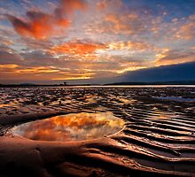 Largs Beach Sunset Sand Ripples by George Crawford