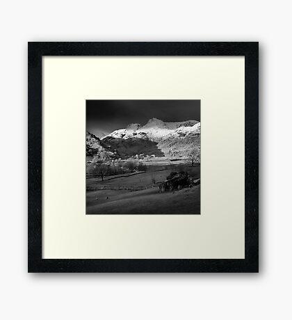 Winter sunrise, The Langdale Valley, Lake District. Framed Print