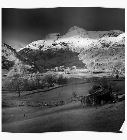 Winter sunrise, The Langdale Valley, Lake District. Poster