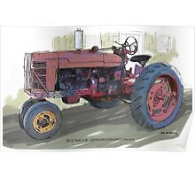 Old Red Tractor Poster
