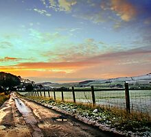 Sunset Wintry Country Lane by George Crawford