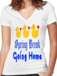 ㋡♥♫Spring Break-Going Home Ducks Clothing & Stickers♪♥㋡ Women's Fitted V-Neck T-Shirt