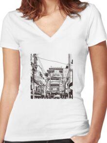 Yokohama - China town Women's Fitted V-Neck T-Shirt