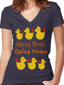 ㋡♥♫Spring Break-Going Home Ducks Clothing & Stickers♪♥㋡ Women's Fitted V-Neck T-Shirt