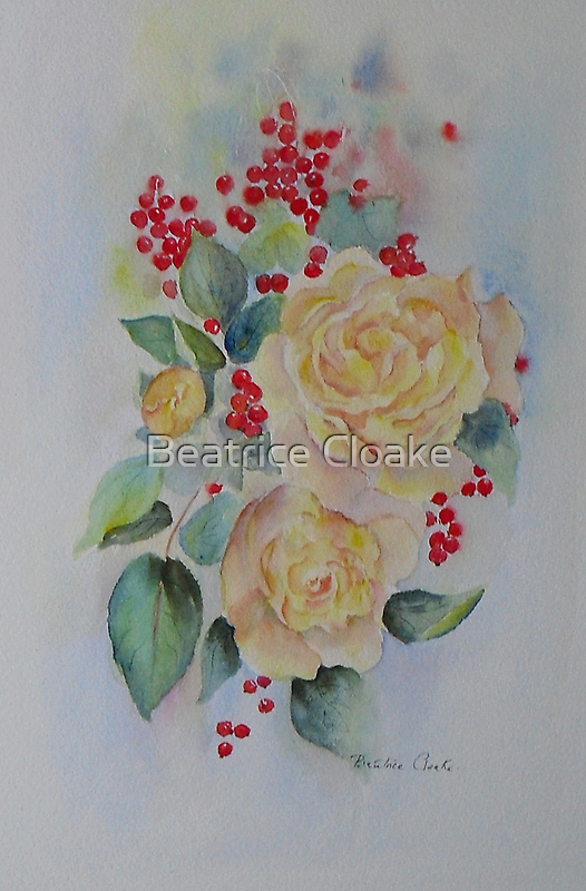 Yellow roses and redcurrants by Beatrice Cloake Pasquier