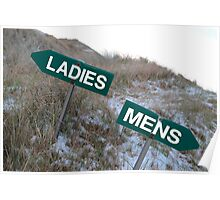 ladies sign above mens sign Poster