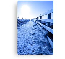 snow covered path on cliff fenced walk Canvas Print