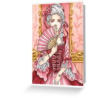 Marie Antoinette pink hearts card Greeting Card