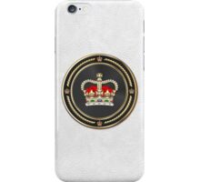St Edward's Crown - British Royal Crown over White Leather  iPhone Case/Skin