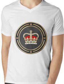 St Edward's Crown - British Royal Crown over White Leather  Mens V-Neck T-Shirt