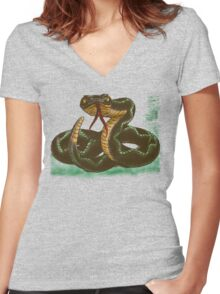 snake Women's Fitted V-Neck T-Shirt