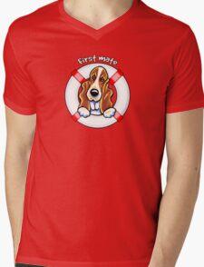 Basset Hound :: First Mate Mens V-Neck T-Shirt