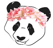 Panda Drawing with Pink Flower Crown by colatraynor