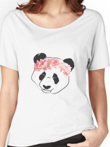 Panda Drawing with Pink Flower Crown Women's Relaxed Fit T-Shirt