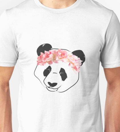 Panda Drawing with Pink Flower Crown Unisex T-Shirt