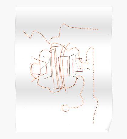 Lines & circles- Brown & orange Poster