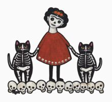 Frida and Her Skellie Cats by Ryan Conners