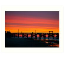 Pink Myrtle Beach Skyline Art Print