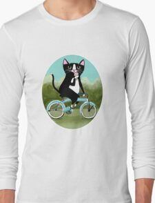 Ice Cream Bicycle Cat Long Sleeve T-Shirt