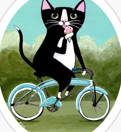 Ice Cream Bicycle Cat Sticker