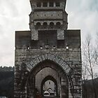 Marj on Medieval  Valentre Bridge 1308 Cahors 198402290048 by Fred Mitchell