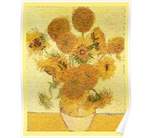 Mosaic of Glass Sunflowers Poster