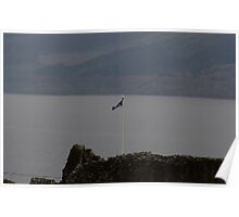 Scottish flag flying high over the remains of Urquhart Castle  Poster