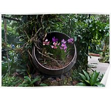 Pink and purple flowers in a slanting container Poster