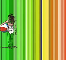 girl with beachball with colorfull stripes in the background by StudioRenate
