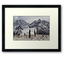 Tourists and locals on the snow and ice covered slope Framed Print