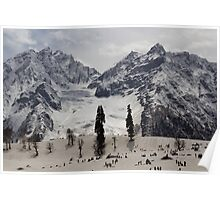 Tourists and locals on the snow and ice covered slope Poster