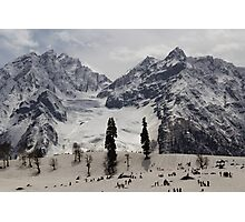 Tourists and locals on the snow and ice covered slope Photographic Print
