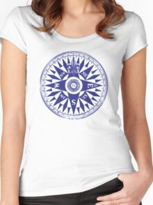 Nautical Compass | Navy Blue and White Women's Fitted Scoop T-Shirt