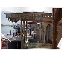 Tourists at the front section of houseboats Poster