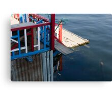 Front part of a houseboat and the weeds and water of the Dal Lake in Srinagar Canvas Print