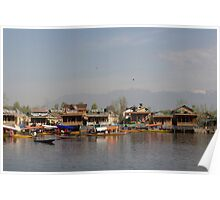 Wooden boats, shikaras and houseboats in the Dal Lake in Srinagar Poster