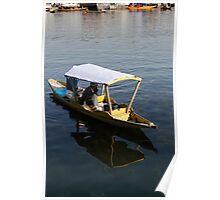 2 Kashmiri men in a small boat in the Dal Lake in Srinagar Poster