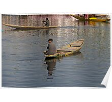 Kashmiri men rowing many small wooden boats Poster