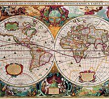 Vintage World Map by Brigitta Frisch