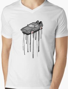 Delorean Drip Mens V-Neck T-Shirt