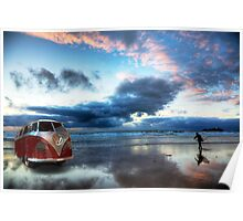 Sunset Surfer VW Camper Van Poster