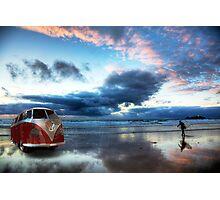 Sunset Surfer VW Camper Van Photographic Print