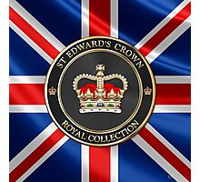 Royal Collection - St Edward's Crown over UK Flag  Photographic Print