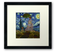 Monet Umbrella on a Starry Night Framed Print