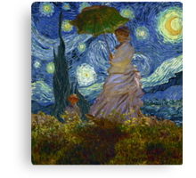 Monet Umbrella on a Starry Night Canvas Print