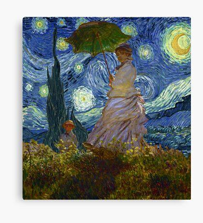 Monet Umbrella on a Starry Night Canvas Print