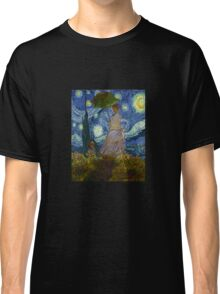Monet Umbrella on a Starry Night Classic T-Shirt